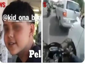 13 years old Indo / English kid filmed himself when smashing rear view mirrors on Denpasar roads.