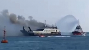 All 25 passengers & 15 crew rescued  from Ferry caught fire in Bali Strait