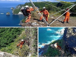 Rescue operation to find back 18 years old boy who fell down from cliff at Nusa Penida.